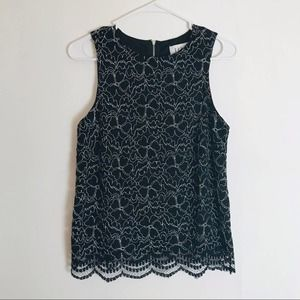Elle Black Floral Lacy Overlay Sleeveless Blouse